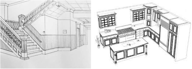 Designers Use It To Draw Up Ideas And New Designs. Picture. Interior Design  Using Perspective Drawing